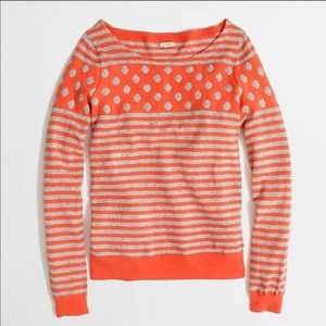 J. Crew Warmspun Intarsia Stripe-Dot Sweater S
